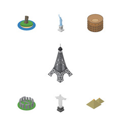 isometric cities set of england chile coliseum vector image vector image
