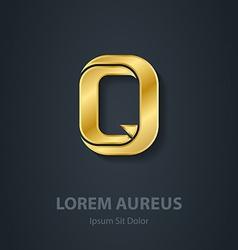 Letter Q elegant gold font Template for company vector image