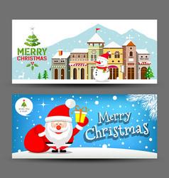 merry christmas horizontal collection vector image vector image