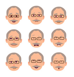 old male people face emotions collection on white vector image vector image