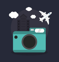 photo camera airplane vacations vector image vector image