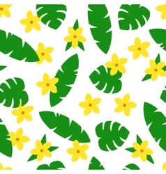 Seamless pattern with tropic leaves and flowers on vector image