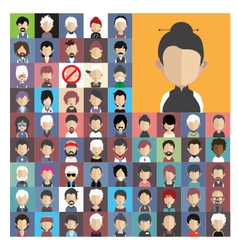 Set of people icons in flat style with faces 04 a vector image vector image