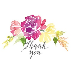 Watercolor greeting card flowers Handmade vector image