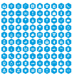 100 gift icons set blue vector image vector image