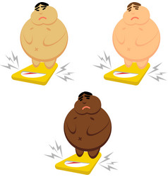 a fat asian white and african american vector image vector image