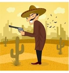 cartoon mexican wearing a huge sombrero vector image