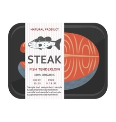 Fish fillet in a package vector