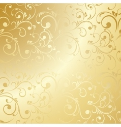 Luxury golden floral wallpaper vector image