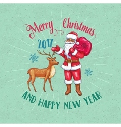 Retro Christmas poster with Santa Claus and Deer vector image