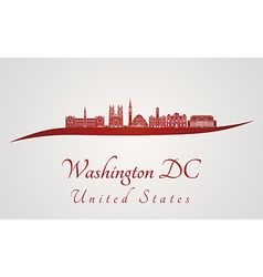 Washington DC V2 skyline in red vector image vector image