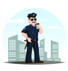 american police officer or patrolmen with coffee vector image vector image