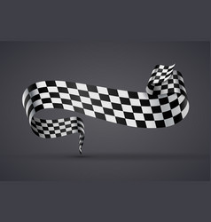 black and white checkered flag or banner vector image vector image