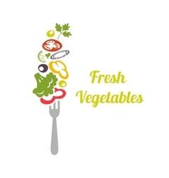 Fresh mixed vegetables on fork Logo design vector image vector image