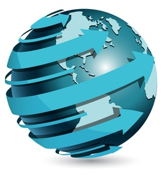 globe with blue arrow vector image vector image
