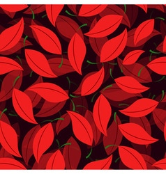 Seamless of cherry leaves vector image