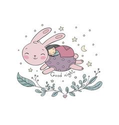 a sleeping girl and a rabbit vector image