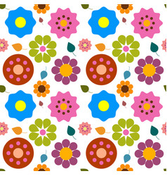 flowers - flat design nature seamless abstract vector image vector image