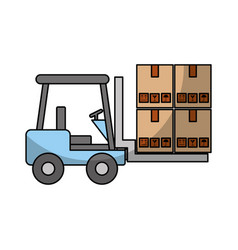 forklift vehicle with boxes vector image