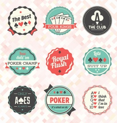 Retro Poker Card Labels vector image vector image