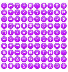 100 binoculars icons set purple vector