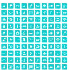 100 kindergarten icons set grunge blue vector