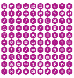 100 paint school icons hexagon violet vector