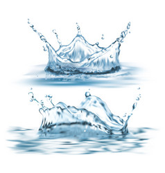 3d realistic set with blue water splashes vector image