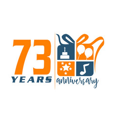 73 years gift box ribbon annivers vector