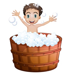 A happy boy taking a bath vector image