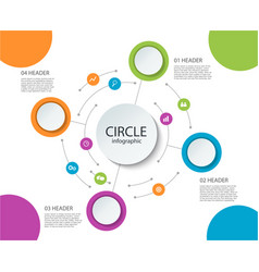 abstract round infographics 4 step color circle vector image