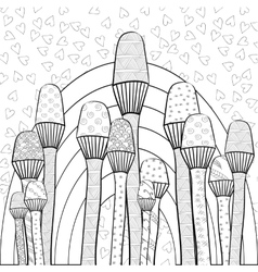 Adult coloring book page Magic mushrooms garden vector image