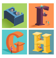 alphabets concept in 3d vector image