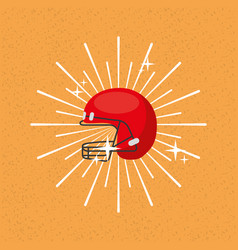 American football helmet sport sunburst color vector