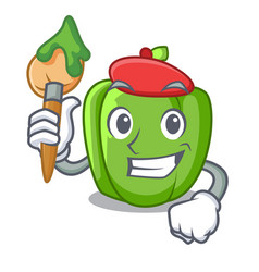 artist green pepper in the plate character vector image