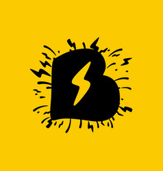 B letter logo with lightning negative space vector