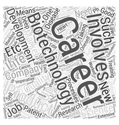 Biotechnology careers word cloud concept vector