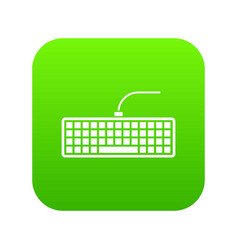 black computer keyboard icon digital green vector image