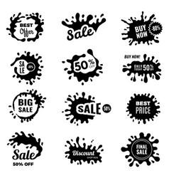 black splashes sale promotional badges special vector image