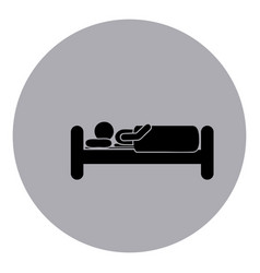 Blue emblem sticker bed and person sleeping vector