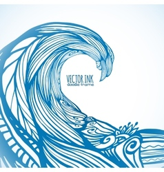 Blue ornate doodle wave background vector image