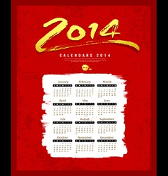 Calendar 2014 text paint brush on red textures vector image