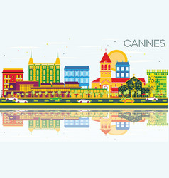 Cannes skyline with color buildings blue sky and vector