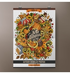Cartoon colorful hand drawn doodles Autumn poster vector