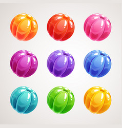 cartoon colorful jelly balls glossy sweet round vector image