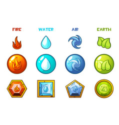 Cartoon four natural elements icons - earth water vector