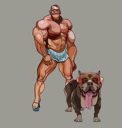 Cartoon funny man bodybuilder in shorts next to a vector