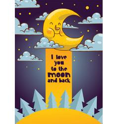 cartoon moon moonlight star character in vector image