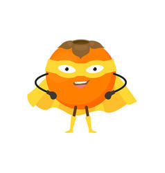 cartoon superhero character persimmon flat design vector image