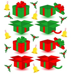 Closed and opened Christmas gifts vector image